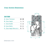 airvent DG 1500 glazed in window vent cross section dimensions