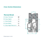 airvent Thermal break glazed in window vent cross section dimensions