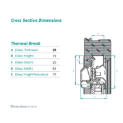 Thermal break cross section dimensions