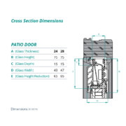 PD – Patio door cross section dimensions