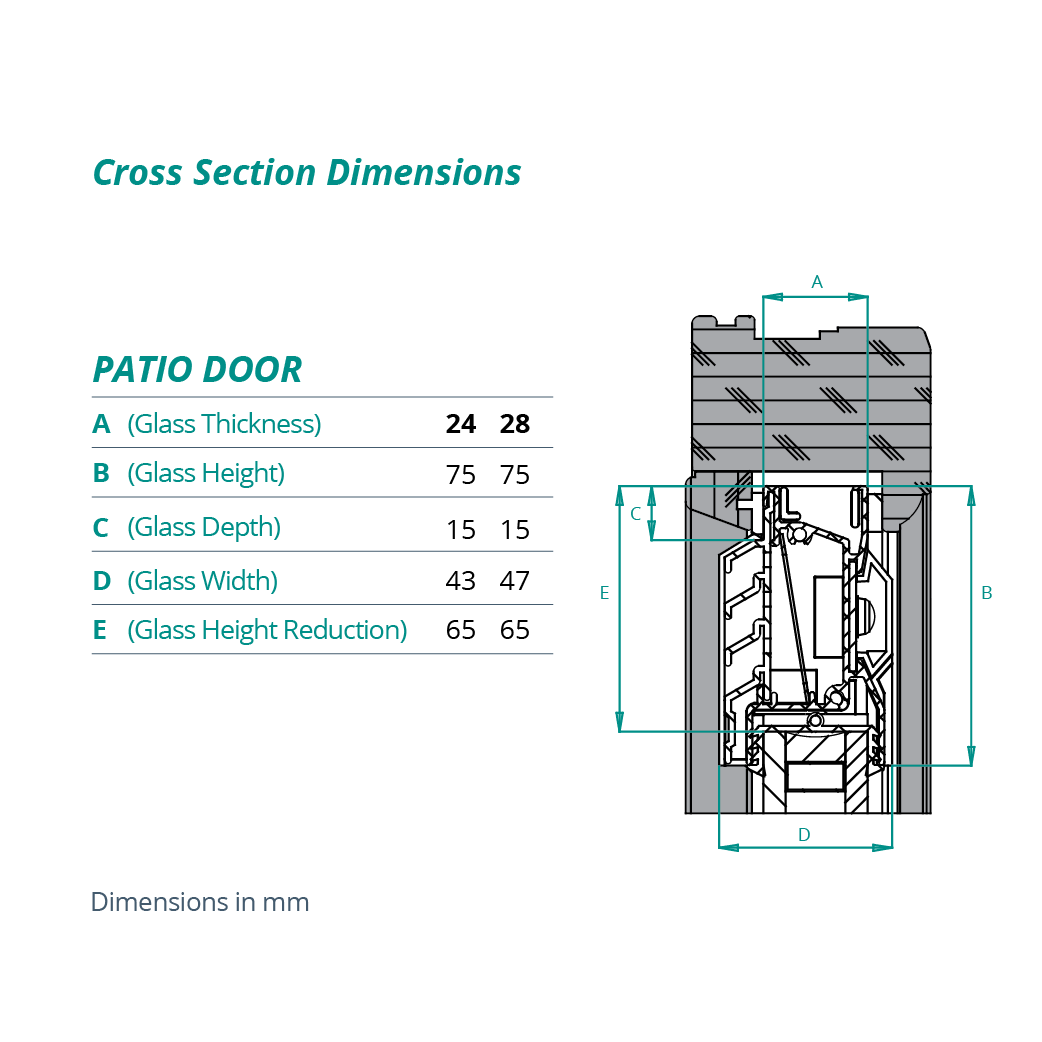 Pd Patio Door Cross Section Dimensions Brookvent
