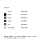 airvent SM Acoustic colour chart - surface mounted window vent