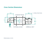 airvent SM Acoustic cross section dimensions - surface mounted window vent
