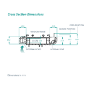 SM Tip Vent cross section dimensions