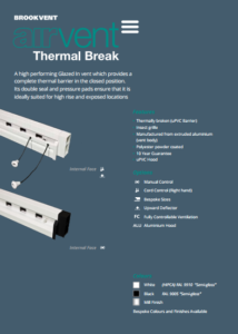 airvent Thermal Break glazed in window vent brochure